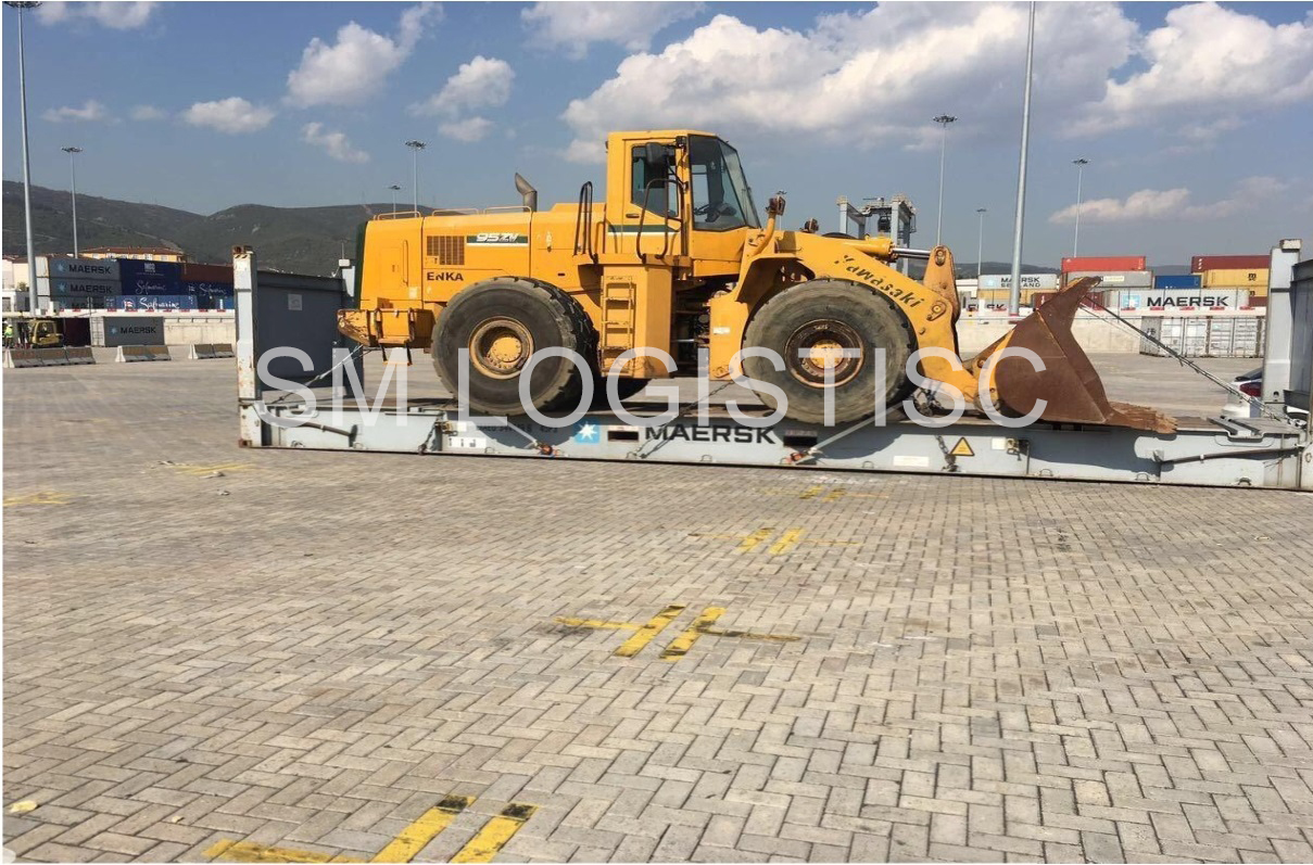 Loading and Secure Front end loader on container Fr